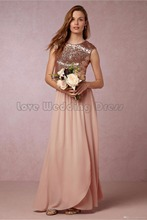 Graceful Cap Sleeve Floor Length Prom Gown A Line Wedding Party Bridesmaid Dress Chiffon Sequined Draped Bridesmaid Dresses