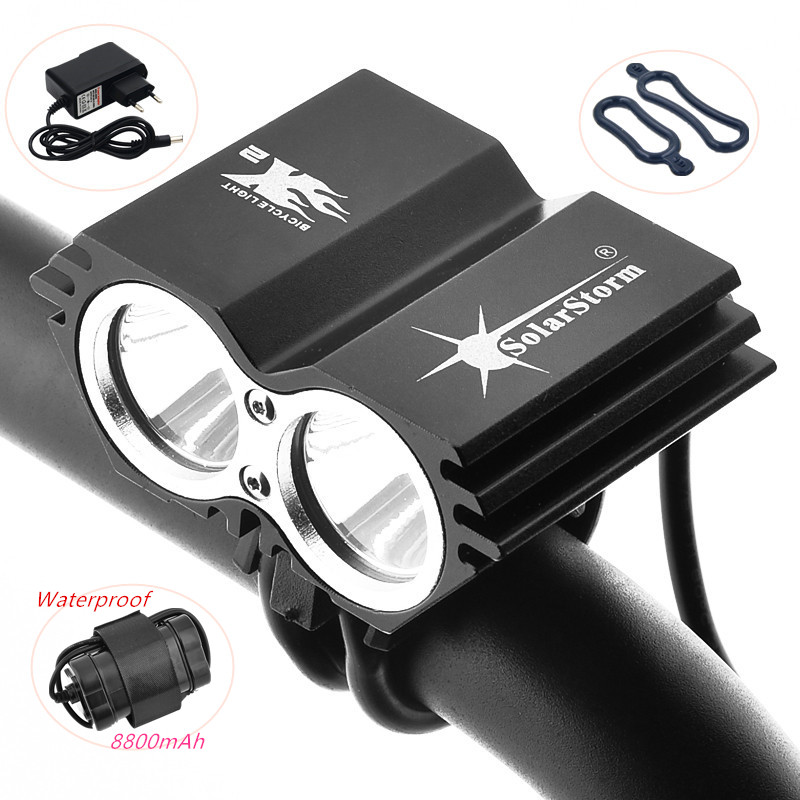 SolarStorm Cycling Bicycle Bike Light 2x XM-L T6 LED Flashlights Lamps For Bike + Waterproof battery Pack + EU/US/UK/AU Charger
