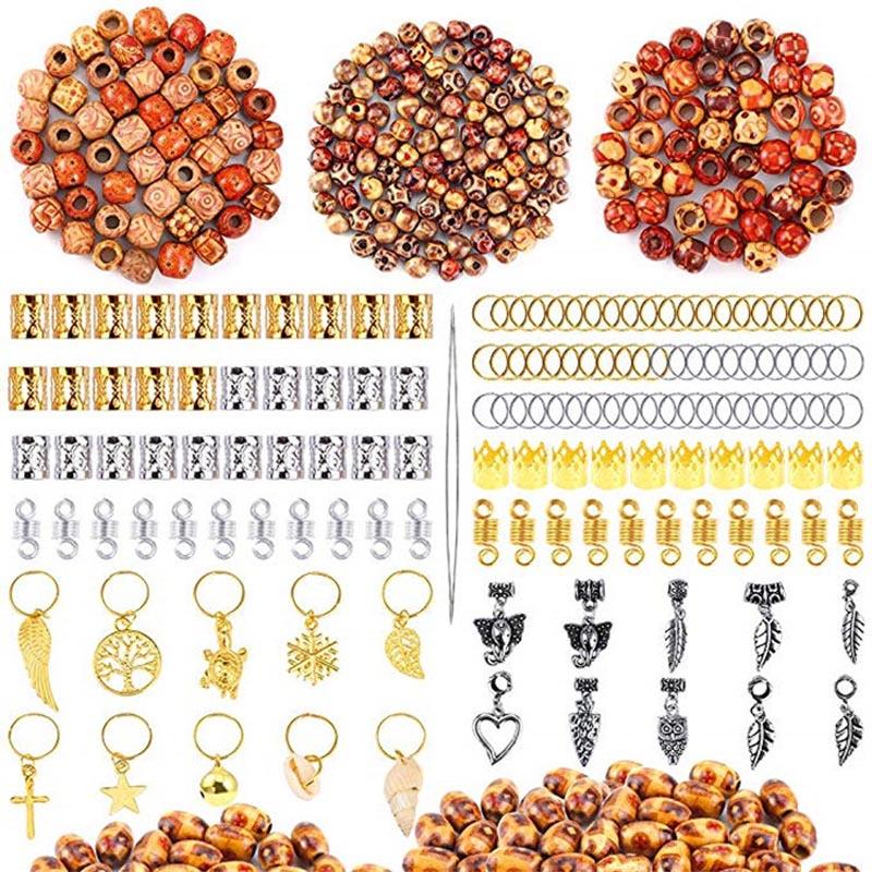 400pcs/lot Hair Braid Dreadlock Beads Cuffs Clips Braid Spiral Braid Hair Extension Wood Beads For Accessories With Storage Box
