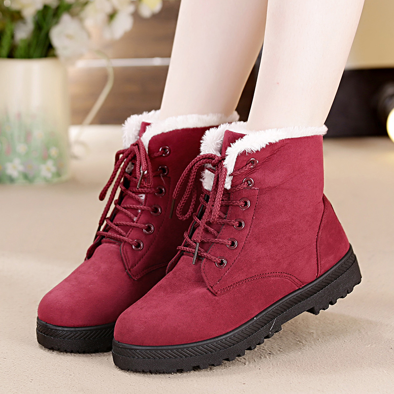 drop ship Snow boots classic heels suede women winter boots warm fur plush Insole ankle boots