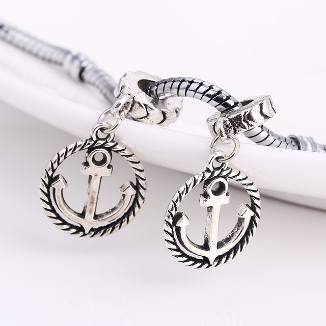 Vintage Metal Nautical Anchor Charms Fit Pandora Antique Silver Diy Zinc Alloy Beads For