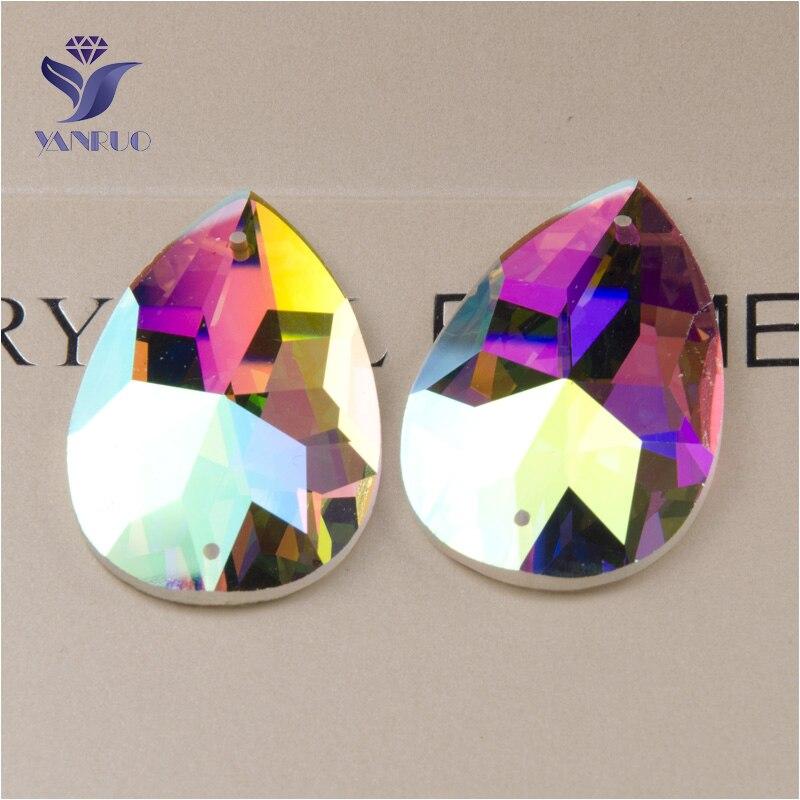 YANRUO 2154TH все размеры каплевидное шитье DIY Стразы Кристалл пришивные камни с плоским основанием AB Стразы для одежды