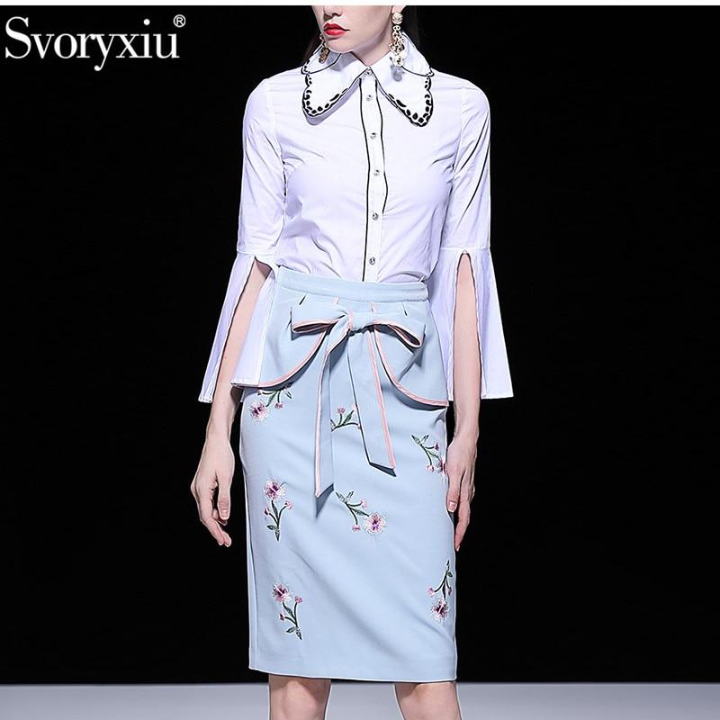 Svoryxiu คุณภาพสูงฤดูร้อนชุดกระโปรงผู้หญิง Flare แขนเสื้อสีขาว + โบว์กระโปรงเย็บปักถักร้อยรันเวย์ 2 ชิ้นชุด-ใน ชุดสตรี จาก เสื้อผ้าสตรี บน   1