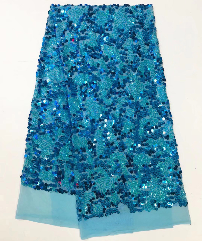 5yards pc Shining French net lace fabric turquoise blue African sequins lace fabric for making