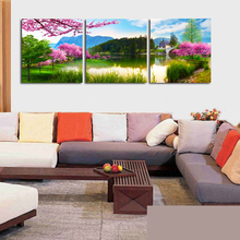 ФОТО No Frame 3 Panels Modern Peach lake landscape Painting On Canvas Wall Art Cuadros Picture Home Decor  Living room and bedroom