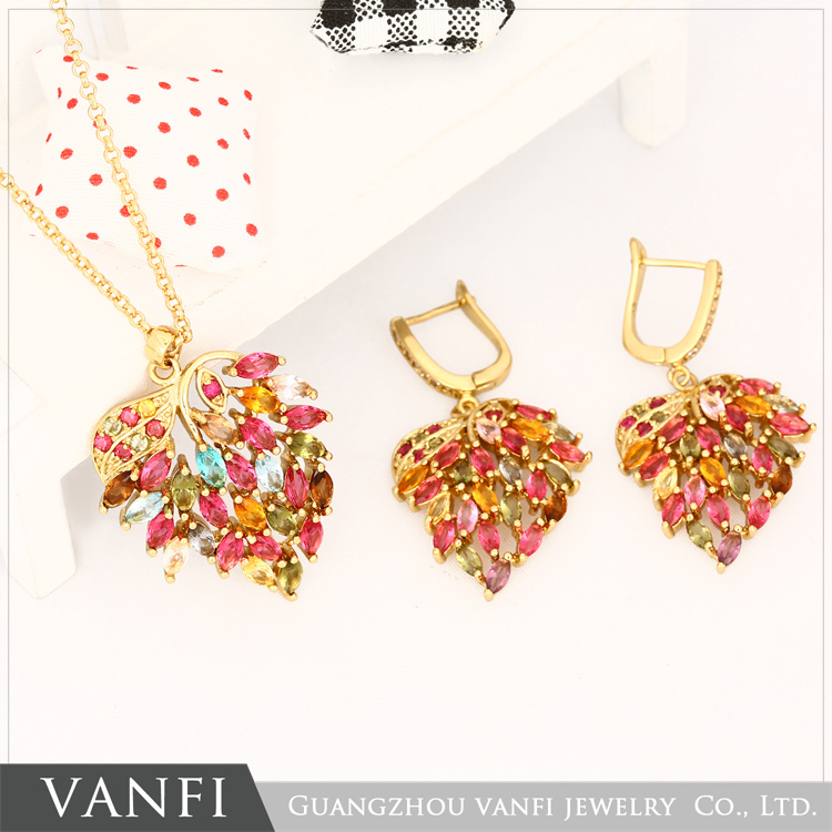 Fashion Women New Gold Color Colorful Austrian Crystal leaves Necklace Earrings Ring Jewelry SetsFashion Women New Gold Color Colorful Austrian Crystal leaves Necklace Earrings Ring Jewelry Sets