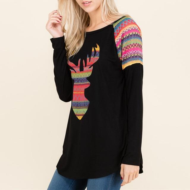 women t-shirts Christmas tee top womens t tops long sleeve deer vintage printed fashion tee shirt fashion female tshirt