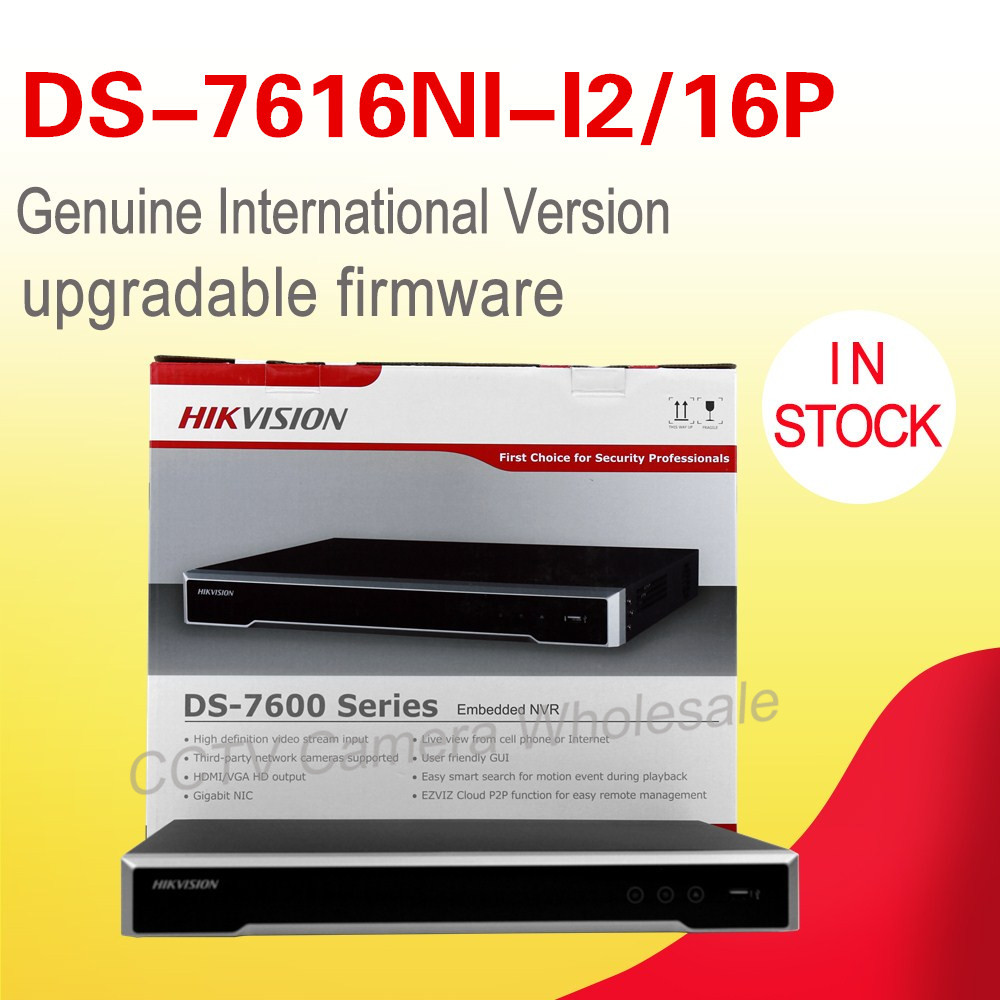 Free shiping DS-7616NI-I2/16P English version 12MP 16CH NVR with 2 sata 16POE ports, Embedded Plug & Play NVR H.265