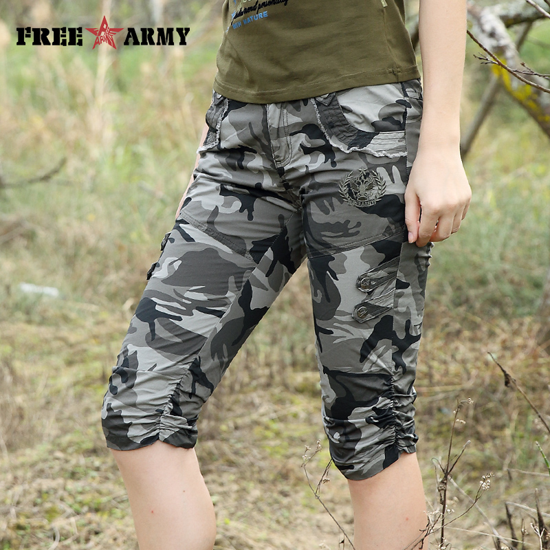 Women Combat Tactical Capris Camouflage Jogger Pants New 2017 Camo Print Sweatpants Joggers Casual Cargo Pants Plus Size 26-31