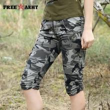 Women Combat Tactical Capris Camouflage Jogger Pants New 2017 Camo Print Sweatpants Joggers Casual Cargo Pants Plus Size 26-31