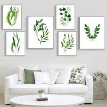 VOLLEDIG HUIS Groene planten serie Home Decor Aquarel bladeren Kunstdruk Posters Canvas schilderij Moderne muurfoto's Geen frame