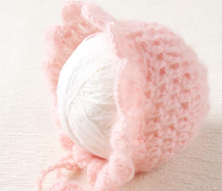 Peach Ruffles Mohair Pants and Hat Set Նորածնի - Հագուստ նորածինների համար - Լուսանկար 3