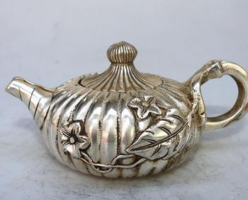 Antique Old QingDynasty silver carving teapot,Flower bottle,hand crafts,best collection&adornment,free shipping
