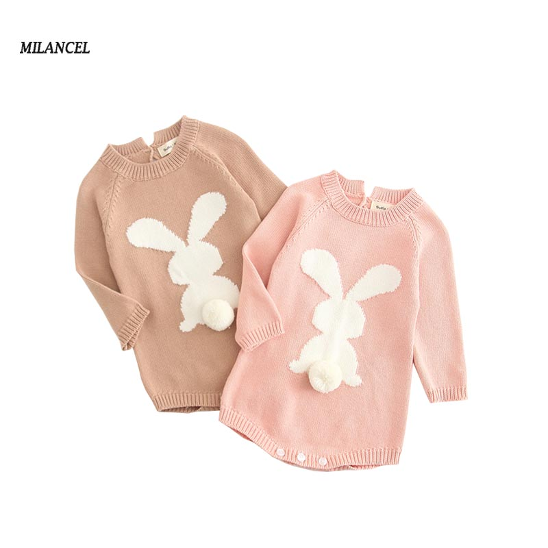 MILANCEL 2019 Spring New Baby Clothes Knit Baby Boys Bodysuits Rabbit Infant Girls Bodysuits Twins Baby Clothing