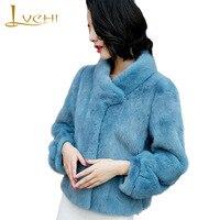 LVCHI Winter 2018 Import Velvet Real Mink Fur Coat Women S Coat Full Pelt Half High