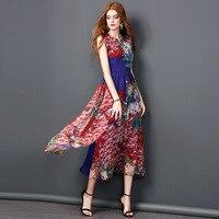2017 Summer Style Bohemian Vintage Floral Printed Sleeveless Pleated Women Dress Chiffon Ladies Beach Casual Maxi