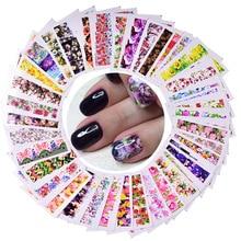 48pcs Flwoer Designs for Nails Sticker Mixed Colorful Flower Full Foils Polish DIY Watermark Tools Nail Art Decals TRSTZ352 391
