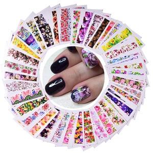 Image 1 - 48pcs Flwoer Designs for Nails Sticker Mixed Colorful Flower Full Foils Polish DIY Watermark Tools Nail Art Decals TRSTZ352 391