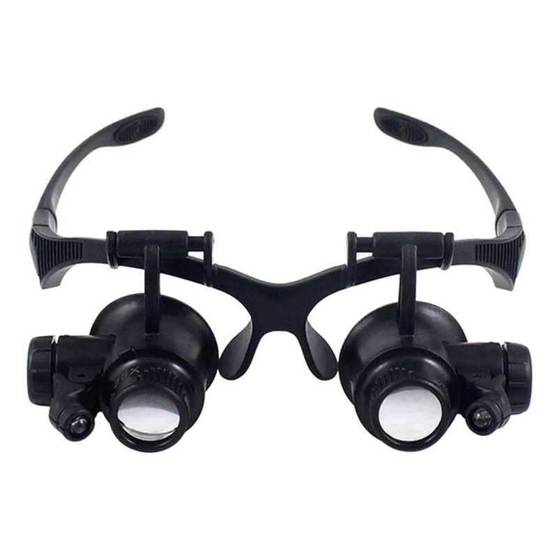 Nueva 10X 15x 20x 25x lupa doble led luces Gafas lente lupa Lupa del joyero de la reparación del reloj Herramientas negro