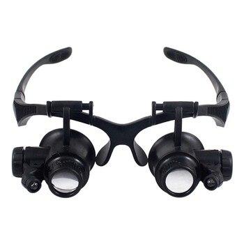 ee54aea27b Nuevo 10X 15X 20X 25X lupa doble LED luces gafas lente lupa joyería reloj  herramientas de reparación negro