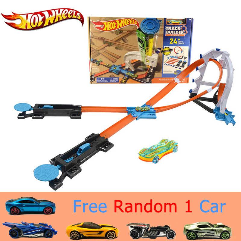 Hot Wheels 4 en 1 Super Track Suit Car Toy nuevo diseño multifuncional caja de regalo Hotwheels Track Car modelo DLF28 para Christmax