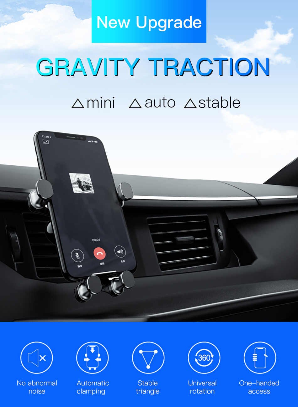 !ACCEZZ Universal Gravity Car Phone Holder In Car Air Vent Mount Stand For iPhone 6 7 8 X XS Samsung Xiaomi Mobile Phone Bracket (1)
