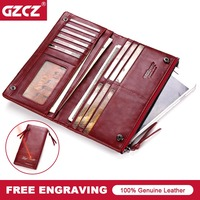 GZCZ Large Capacity Genuine Leather Card Holder Wallet Long Women Wallets Zipper Clutch Casual Retro Purse