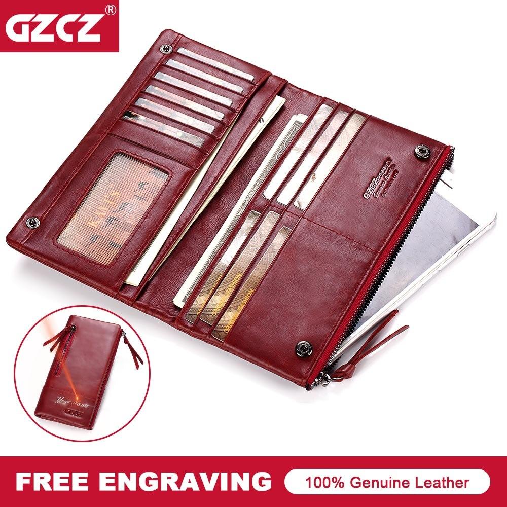 GZCZ Large Capacity Genuine Leather Card Holder Wallet Long Women Wallets Zipper Clutch Casual Retro Purse Carteira Feminina