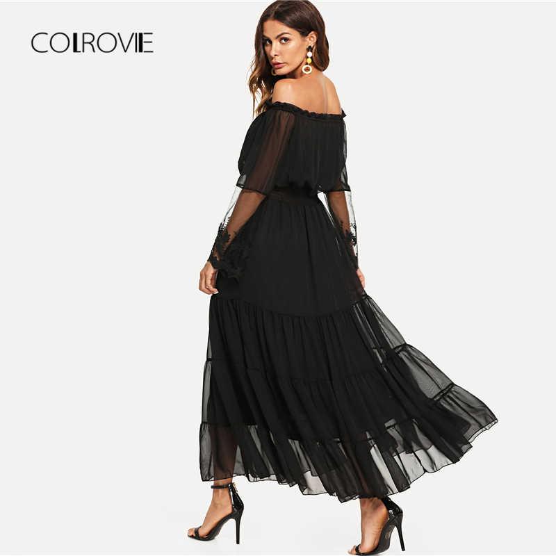 bc78fc08e8168 COLROVIE Black Sheer Mesh Off The Shoulder Lace Panel Party Dress 2018  Autumn Ruffle Long Sleeve Women Dress Trapeze Maxi Dress
