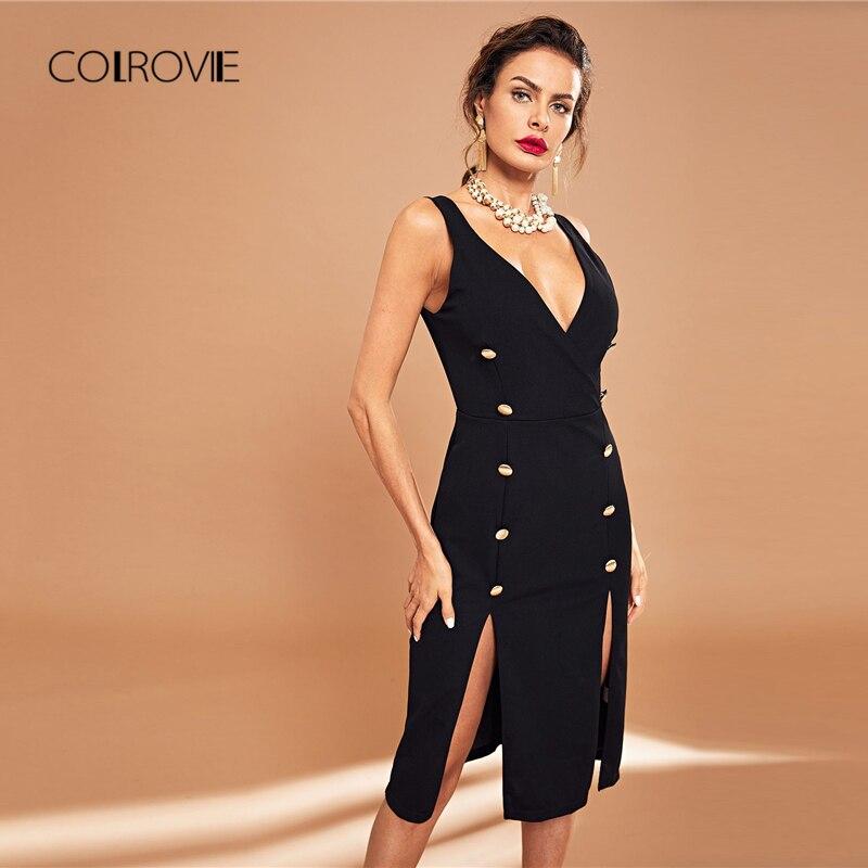 COLROVIE Black Backless Double Button Slit Elegant Shirt Dress Women 2018  Autumn Bodycon Korean Style Sexy Dress Midi Dresses-in Dresses from Women s  ... 6ee624ac5300