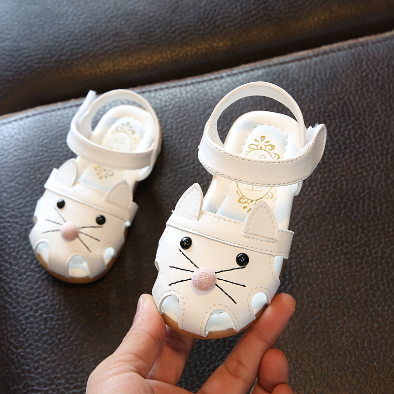 2020 New PU Leather Baby Summer Sandals For Girls 1-2-3 Years Old Soft Sole Kids Toddlers Cute Cartoon Cat Shoes