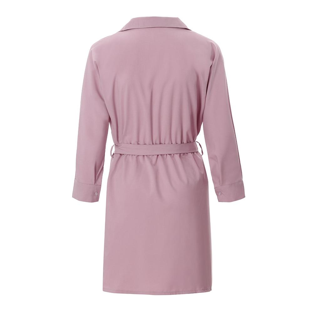 HTB1IR6AayYrK1Rjy0Fdq6ACvVXa4 Shirt Fashion Summer Dress Women Autumn Dress Long Sleeve Turn-Down Collar T Shirt Dress 4 Colour Casual Mini Office Dress