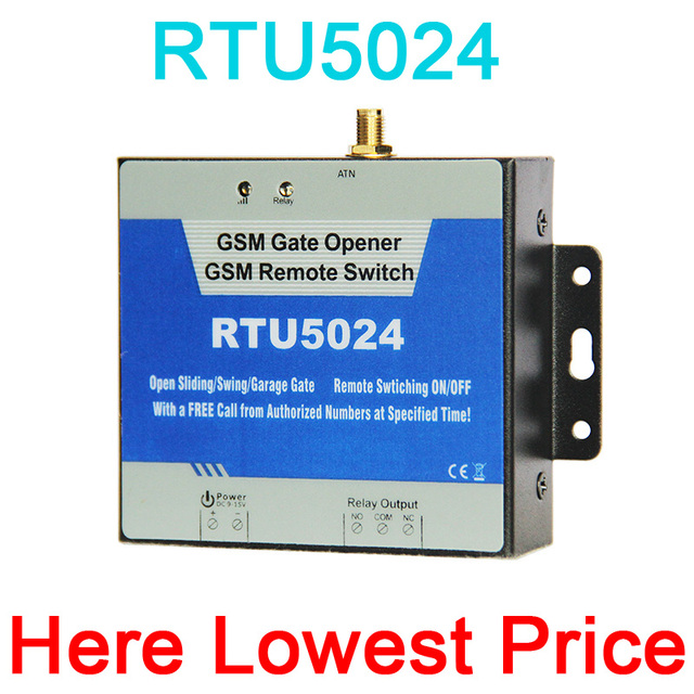 GSM Gate Opener Relay Switch Remote Access Control Wireless Door Opener By Free Call RTU5024 App support