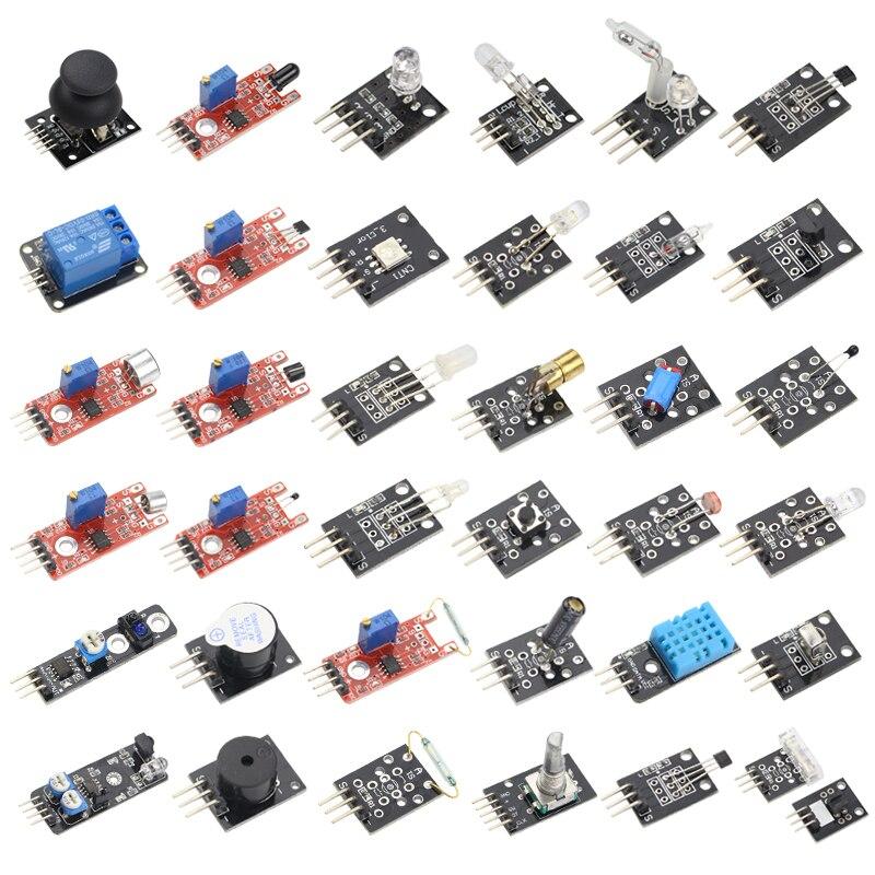 37 IN 1 Sensor Kit for Arduino Starter Kit Sensors Set for MEGA 2560 for UNO R3 for Raspberry Pi DIY Learning Suit kit for arduino uno with mega 2560 lcd 1602 hc sr04 dupont line jumper wires sensors led plastic box
