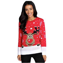 4df264060ca2d9 England Style Women Knitted Sweater Autumn Winter Christmas Cute Deer  Pullovers Reindeer Sweater Women O-. 2 Colors Available