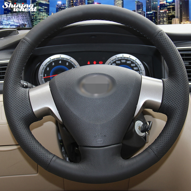 Shining wheat Toyota Corolla 2006-2010 Toyota Corolla EX의 손으로 꿰맨 검은 인조 가죽 조향 핸들 커버