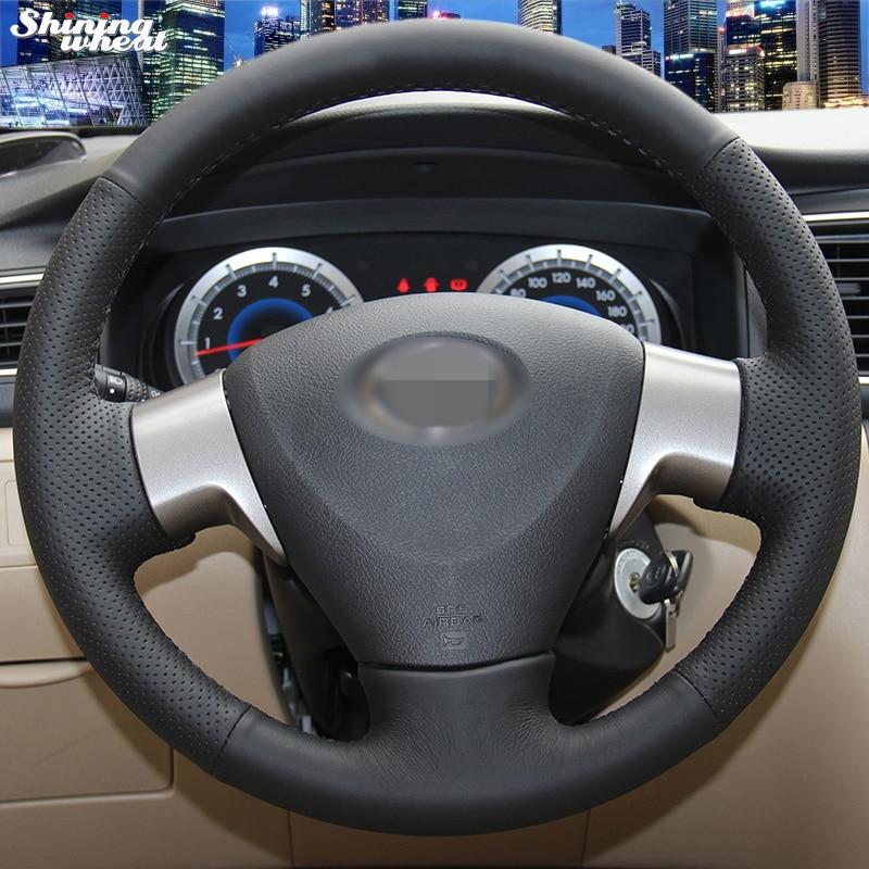 Cubierta del volante de cuero artificial negro cosido a mano para Toyota Corolla 2006-2010 Toyota Corolla EX