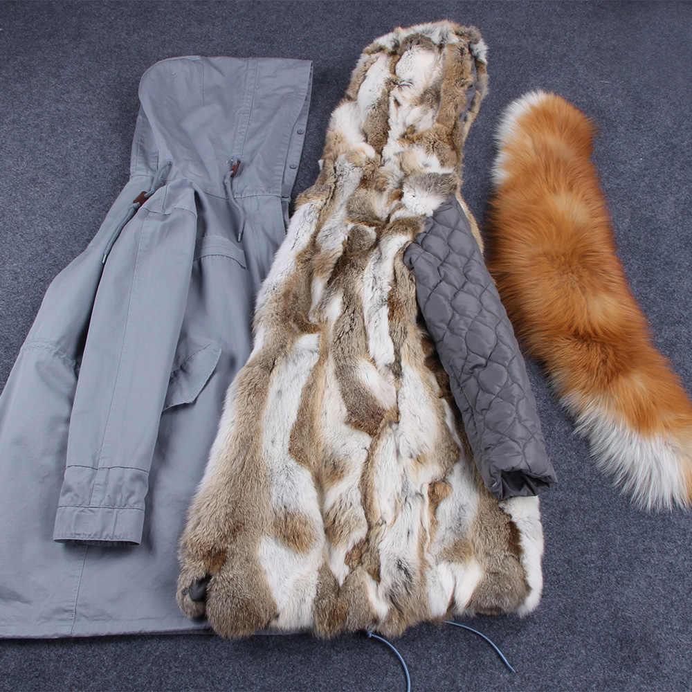 真央真央香港ファッション女性のリアルウサギの毛皮裏地冬ジャケットコートナチュラルフォックス毛皮の襟フード付きロングパーカー生き抜くdhl 5-7