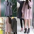 2017 recién llegado de otoño invierno de pana vintage dress mujeres cintura elástica pequeña cuello alto dress harajuku hembra mini vestidos