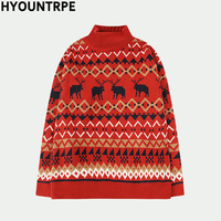 Fashion Knitted Sweater Pullovers Casual National Style Loose Sweaters Men New Autumn Winter Christmas Tops Warm Jumper Knitwear