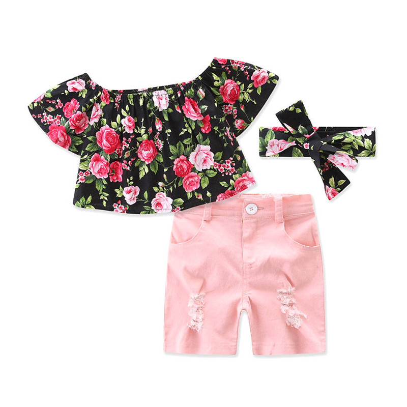 3PcsToddler KIds Baby Girls Clothes Summer Floral Off Shouder Short Sleeve Tops Short Headband Outfits Baby Clothing Set 1-5T