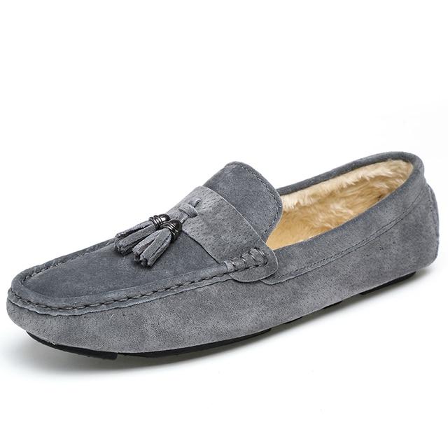 Fringe Suede Winter Shoes Men Plush Winter Men Shoes Casual Warm Slip On