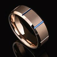 Saya Brand Men's 8mm Rose Gold Matte Finish Tungsten Carbide Ring Blue Plated Beveled Edge Wedding Band Size 7 11
