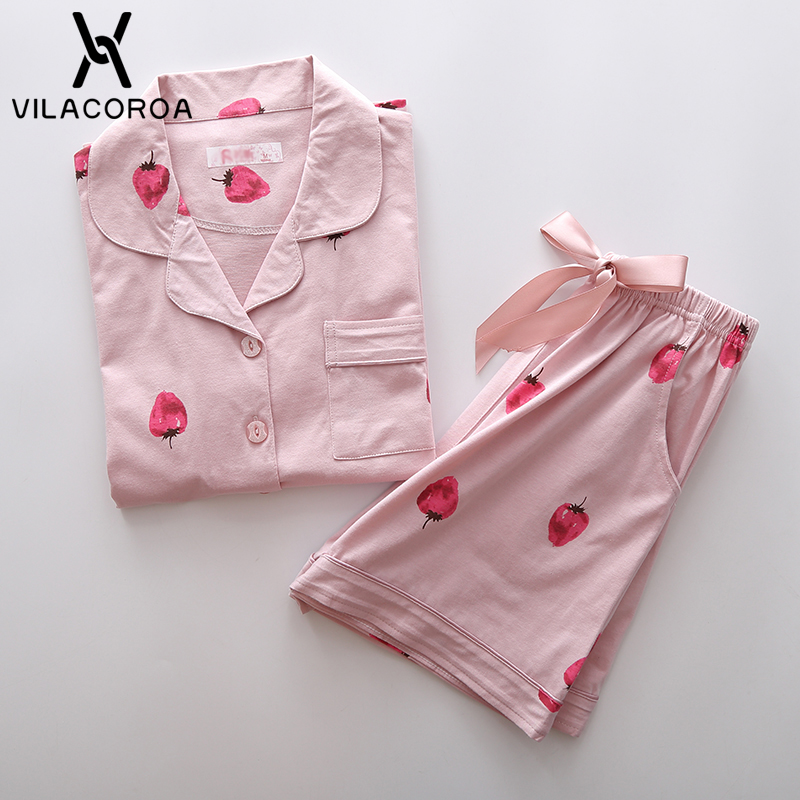 Vilacoroa 2018 Cute Strawberry Print Short Sleeve Blouse & Shorts   Pajama     Set   Pink Turn Down Collar Cute Sleepwear With Button