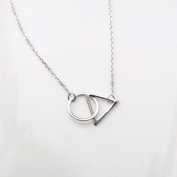 925 Diseño Simple Triángulos Geométrica Collares y Colgantes de Plata de Ley Par