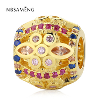 100 Authentic 925 Sterling Silver Charm Bead Gold Color Fresco Crystals Charms Fit Pandora Original Bracelets
