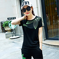 Women's Suit 2016 New Fashion Short Sleeve Tees+Calf-Length Pants Two Piece Set,Slim thin Style Tracksuit for women Plus Size
