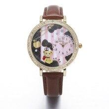 Miss Keke Argila 3d Urso Bonito Mini Mundo Relógios de Strass Relógios Relogio feminino Mulheres Senhoras de Quartzo de Couro Relógios De Pulso 924