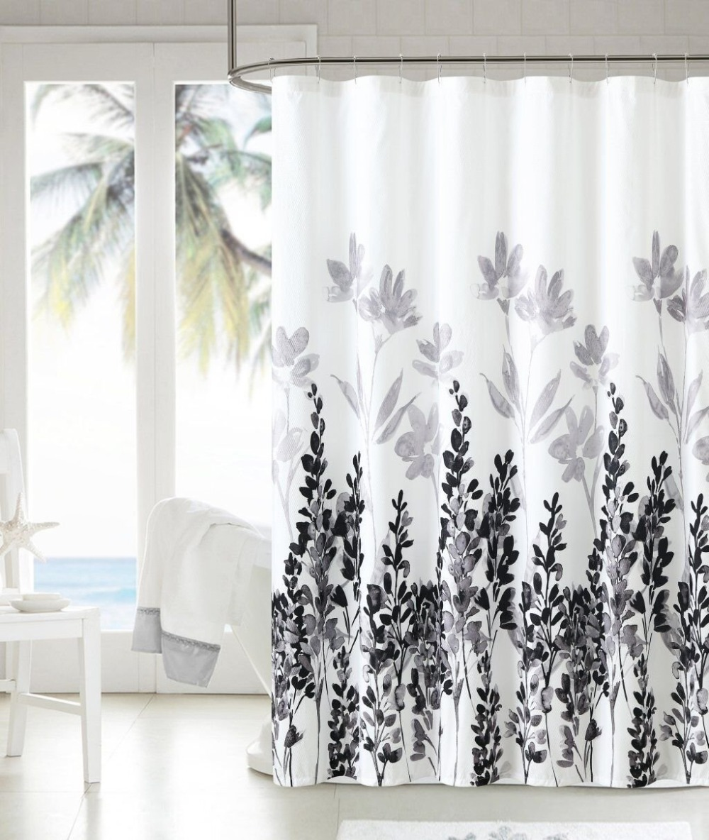 Waterproof Polyester Shower Curtain With 12 Plastic Hooks Bathroom Use Decorative Bath Designs Leaves Black Gray In Curtains From Home