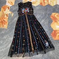 Высококачественное женское шелковое платье, длинное Сетчатое платье, Сетчатое платье с вышивкой, высокое качество, без рукавов